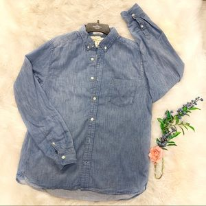 L.O.G.G Denim look button down shirt women's L